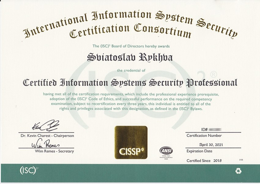 certification cissp certificate security