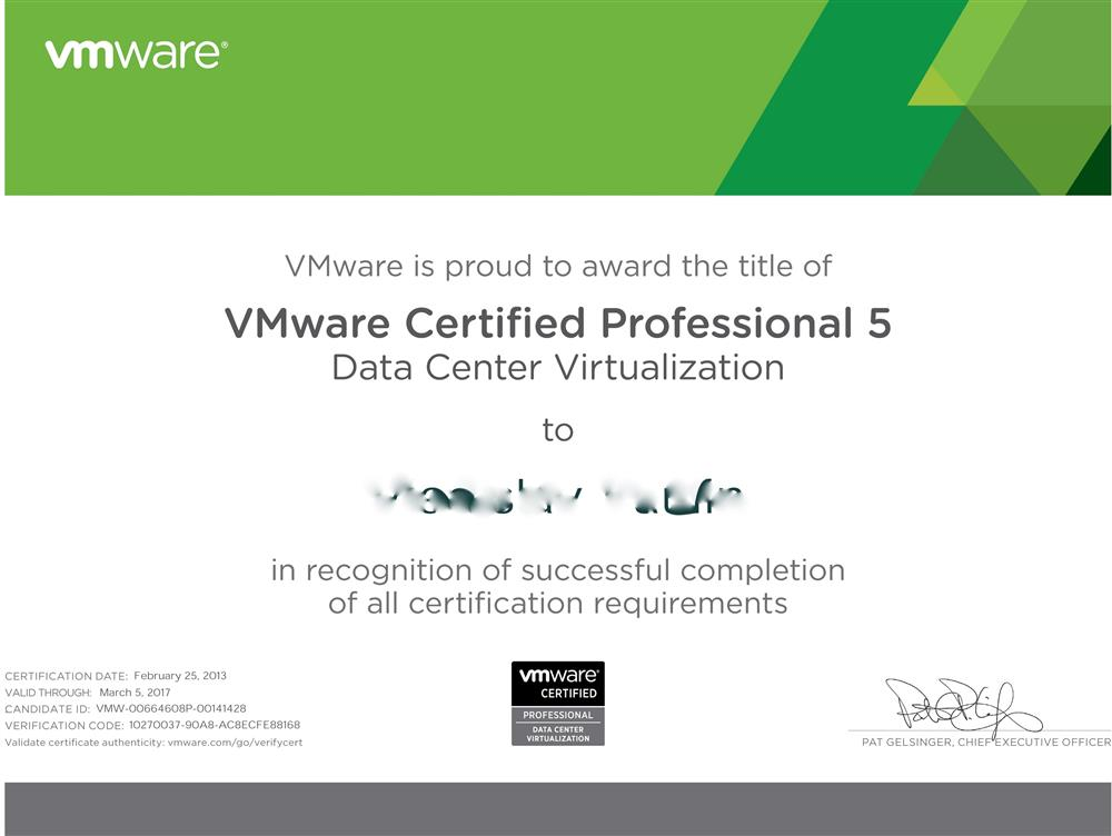 VM ware certified professional 5